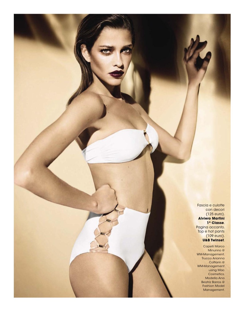 Ana Beatriz Barros looks white hot in bandeau bikini top with high-waist lace-up bottoms