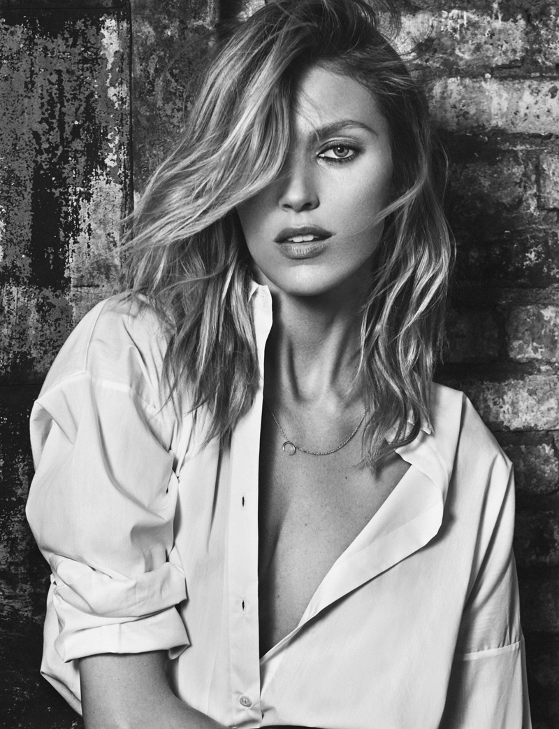 Anja Rubik gets her closeup in black and white image