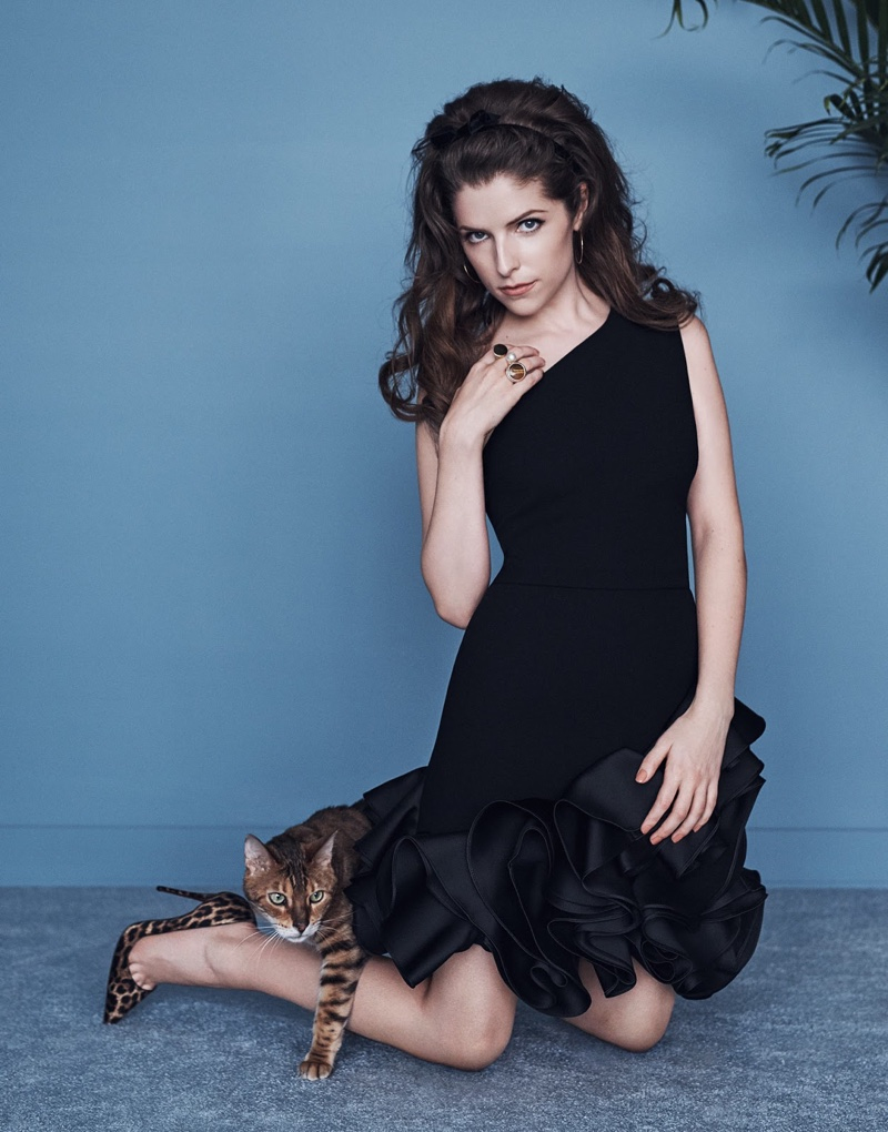 Anna Kendrick poses in Victoria Beckham dress with Christian Louboutin pumps