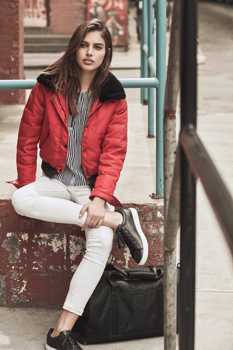 Shlomit Malka wears a bomber jacket and white denim in Armani Exchange's fall-winter 2016 campaign