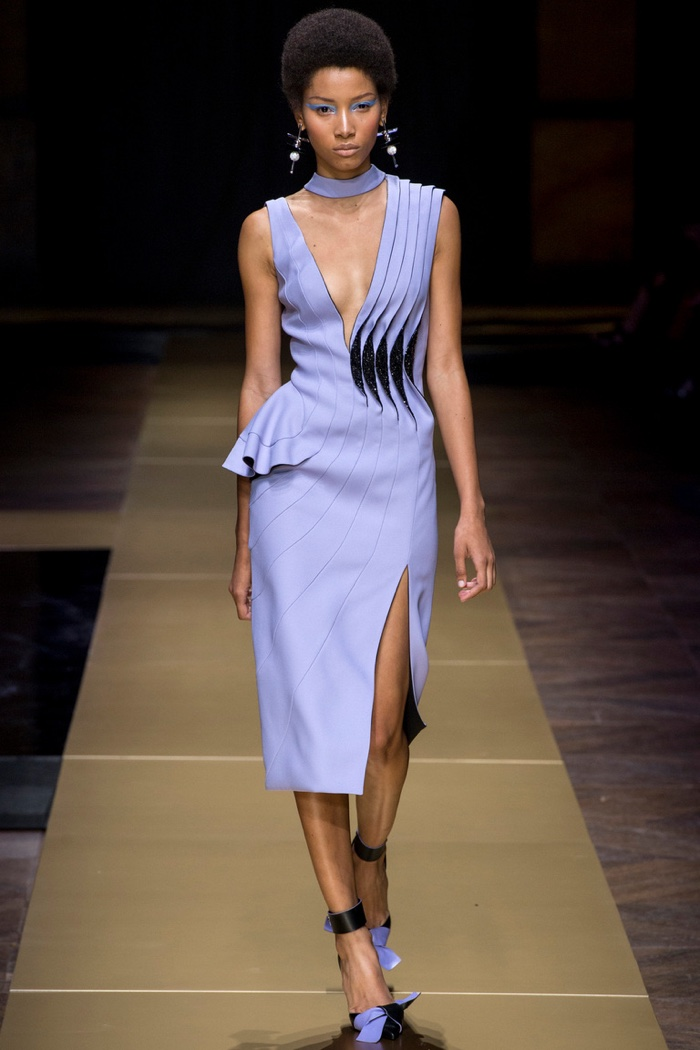 Atelier Versace Fall 2016: Lineisy Montero wears sleeveless purple dress with pleating detail