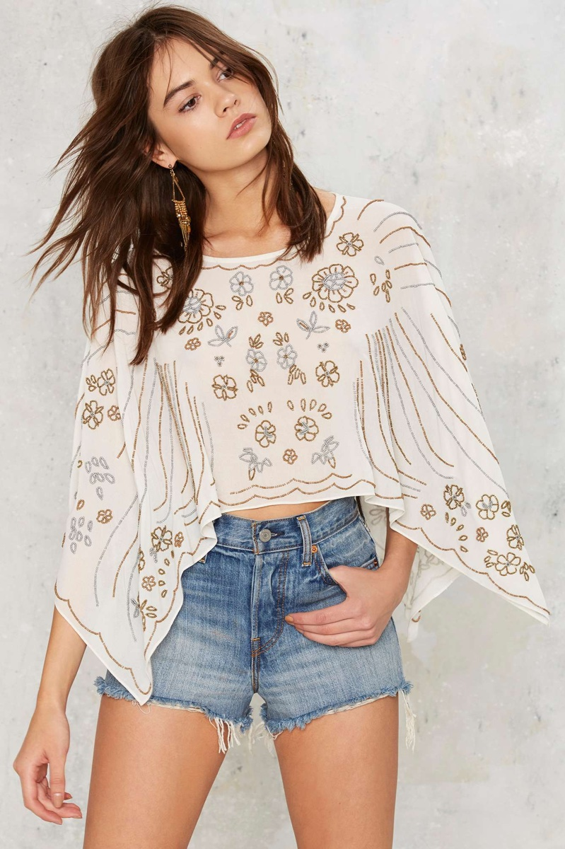 Nasty Gal Bead for Real Embellished Cape Top
