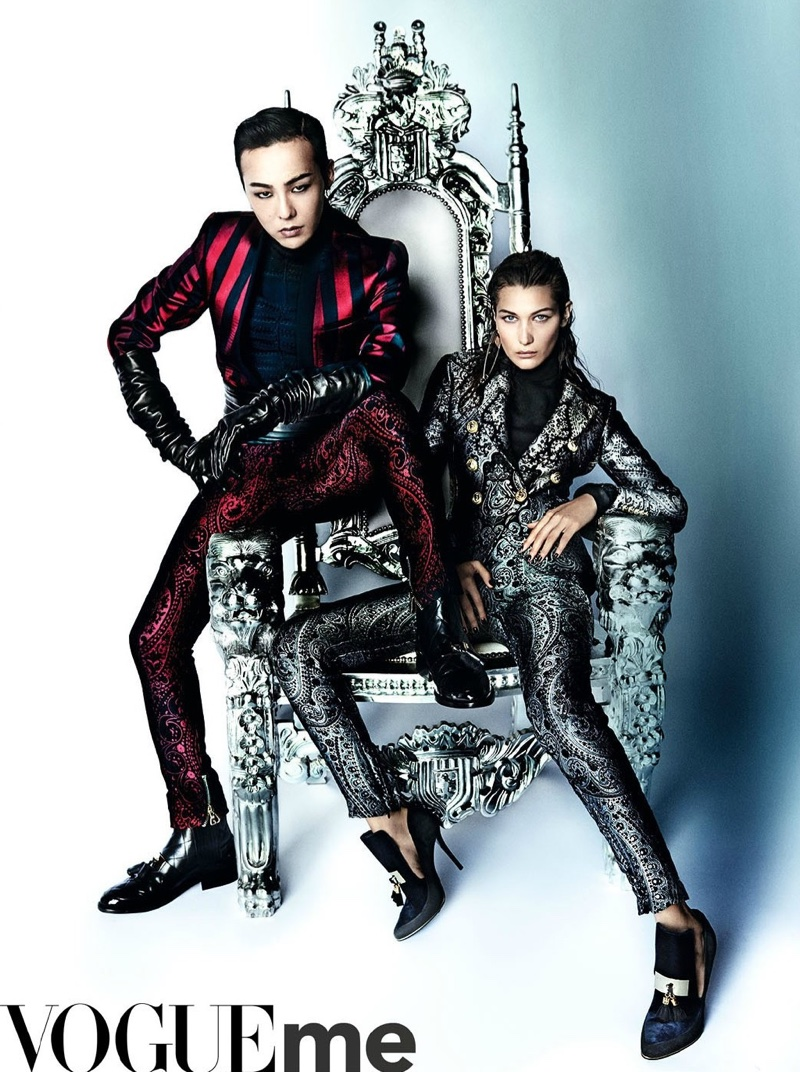 Bella Hadid suits up with G-Dragon in embellished jackets and trousers