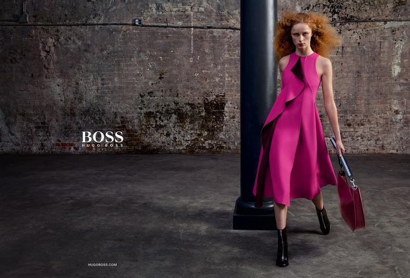 Rianne van Rompaey is a total knockout in a fuchsia architectural dress for BOSS Hugo Boss' fall-winter 2016 campaign.