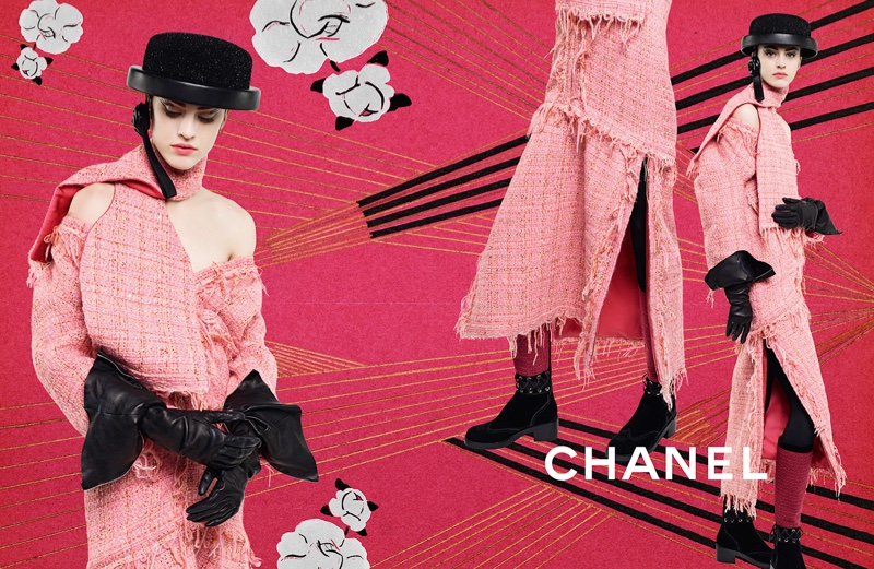 Chanel showcases pink tweed in its fall 2016 campaign