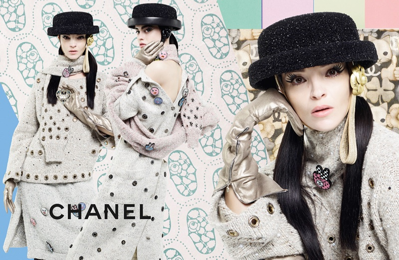 Mariacarla Boscono wears embroidered knitwear in Chanel's fall 2016 campaign