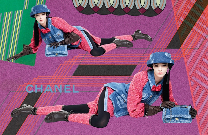 Mariacarla Boscono wears denim in Chanel's fall 2016 campaign
