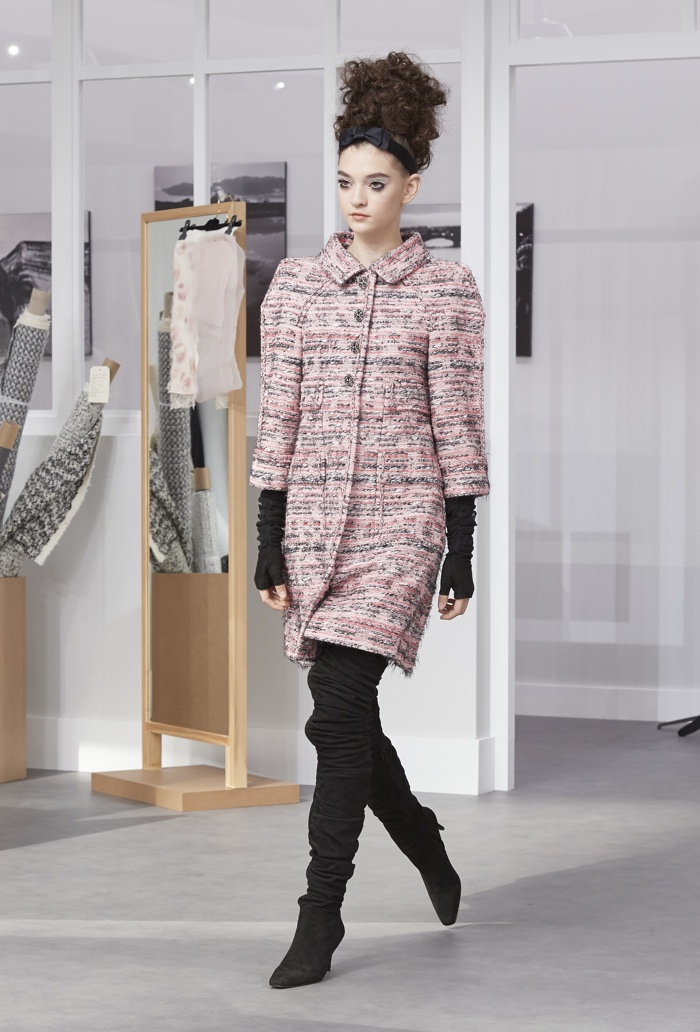 Chanel's tweed jacket becomes an elegant dress as part of the fashion house's haute couture fall-winter 2016 collection.