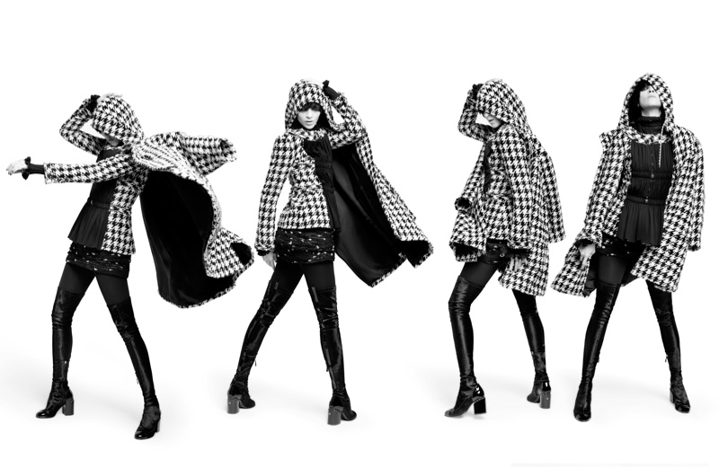 Mariacarla Boscono poses in a houndstooth hooded jacket in Chanel's pre-fall 2016 campaign