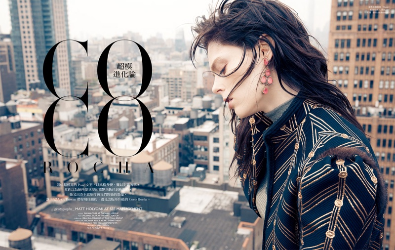 Coco Rocha poses in Gucci embroidered jacket with Jill Stuart sweater and Erickson Beamon earrings
