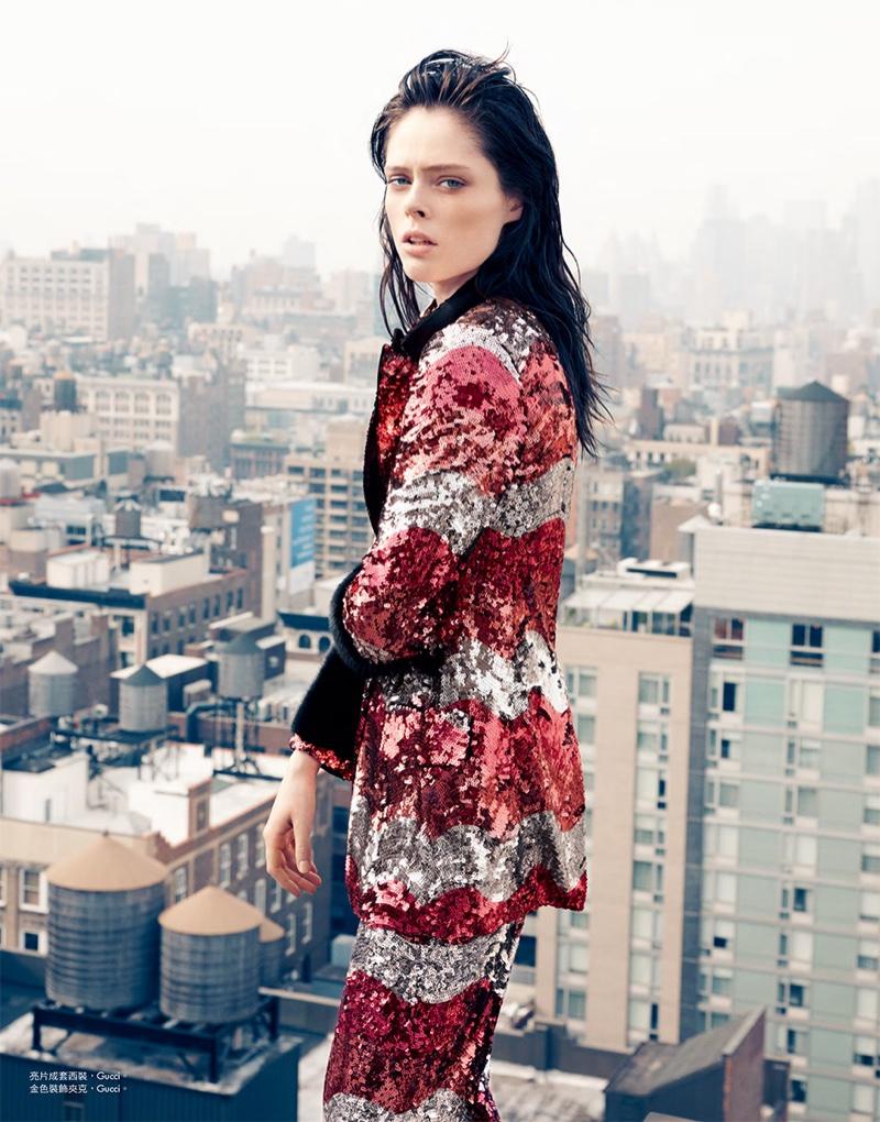 Coco Rocha wears Gucci sequin embellished pantsuit