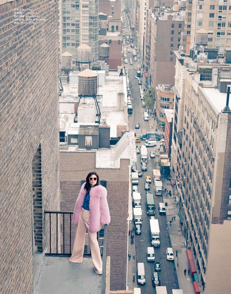 Coco Rocha serves 1970s vibes in Gucci pink fur coat