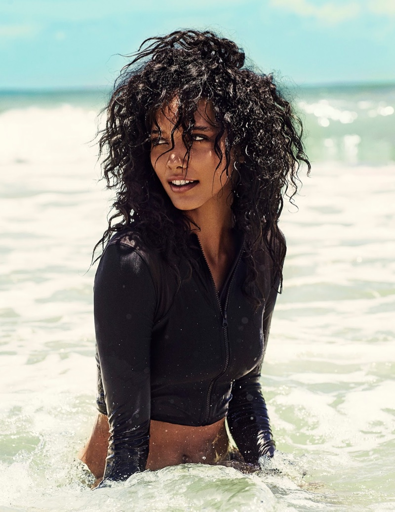 Cora Emmanuel hits the beach in swimsuit looks for the editorial