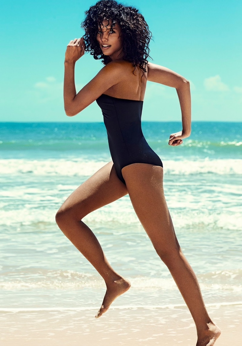 Cora Emmanuel strikes a pose in strapless Eres swimsuit