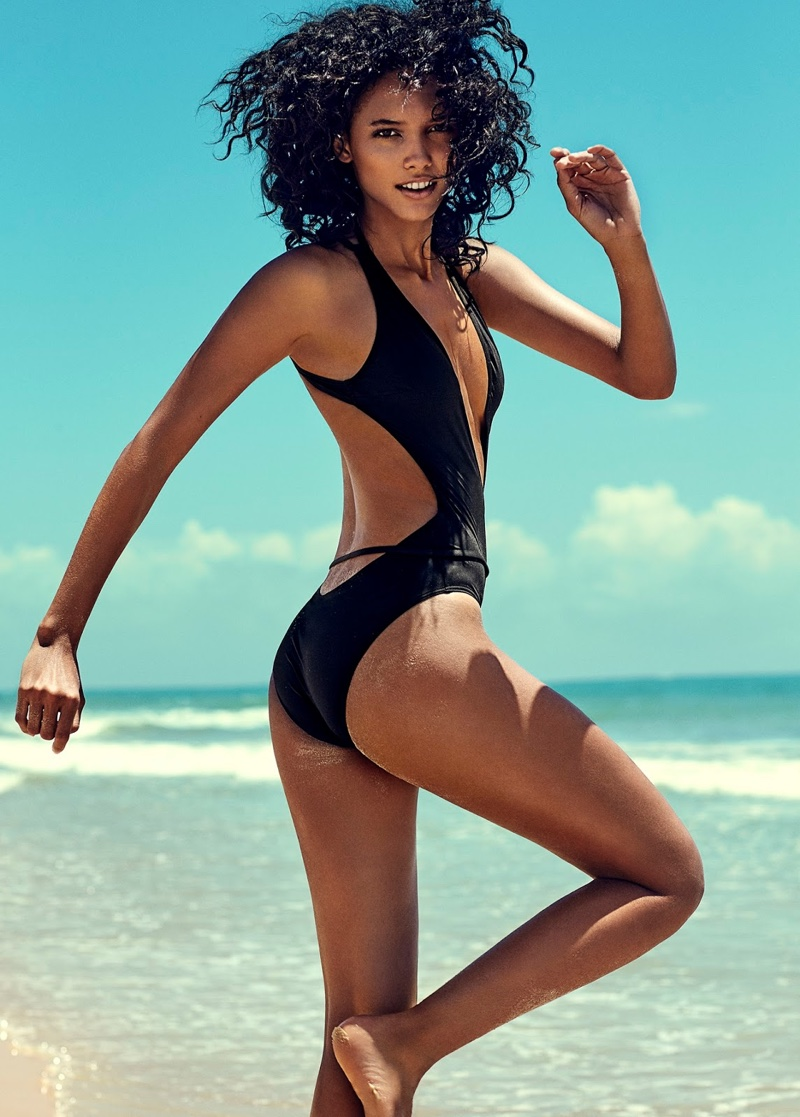 Cora Emmanuel models Calvin Klein monokini