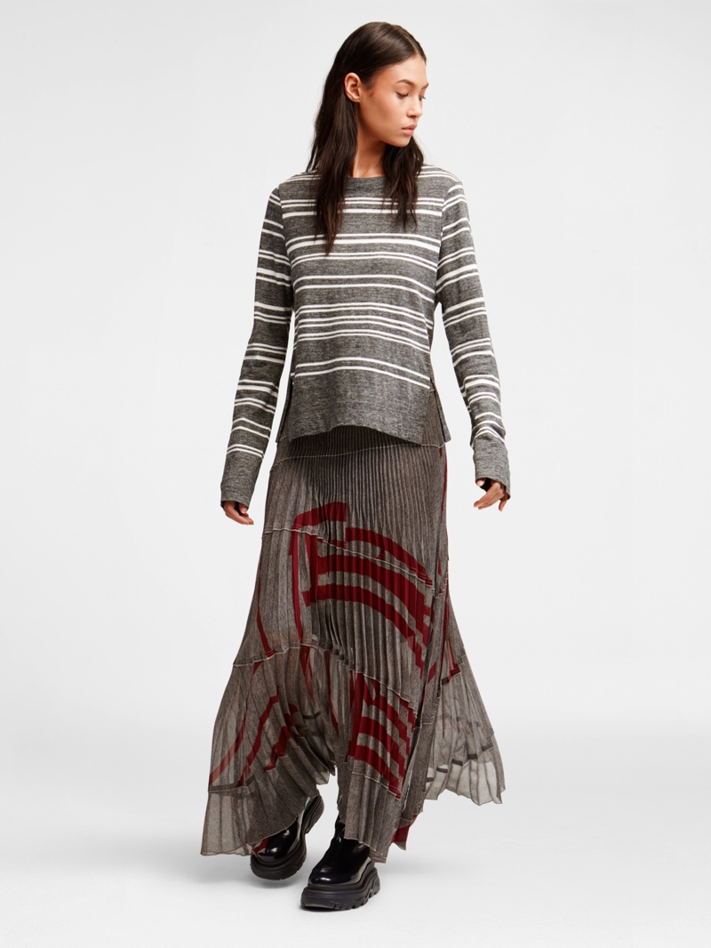 DKNY Pure Abstract Stripe Long Sleeve Top