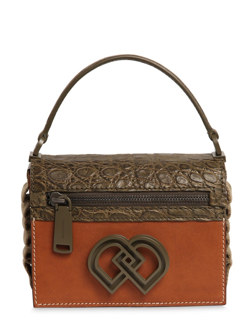 DSquared2 Crock Embossed & Smooth Leather Bag