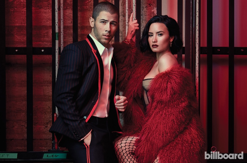 Demi Lovato wears red Adrienne Landau fur coat
