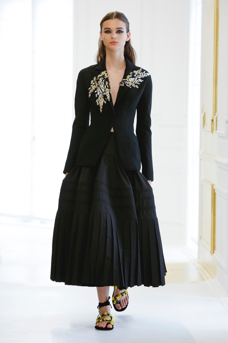 Dior Fall 2016 Haute Couture: Jacket with metallic embroidery with pleated midi skirt