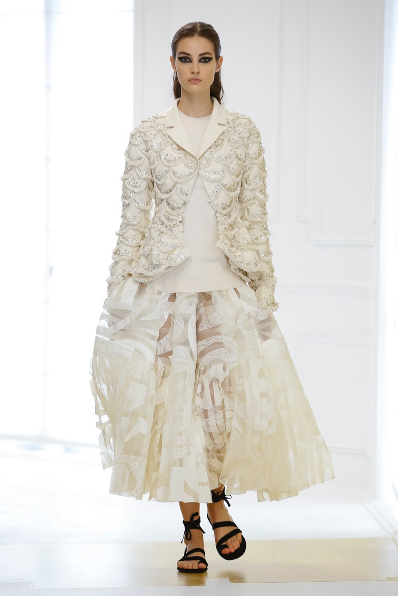 Dior Fall 2016 Haute Couture: Embellished jacket with metallic embroidery and transparent skirt