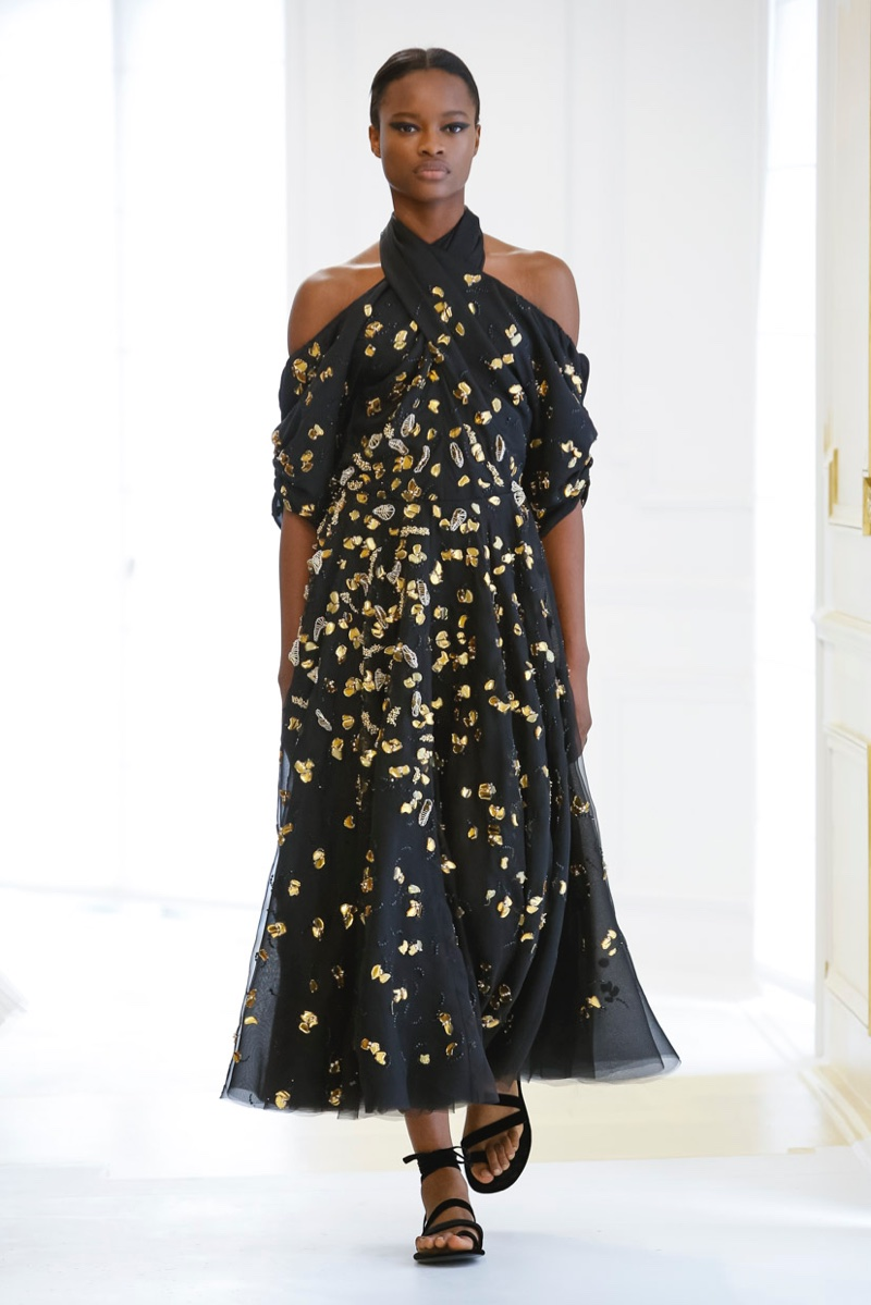 Dior Fall 2016 Haute Couture: Open shoulder dress with halter neckline and gold and silver details