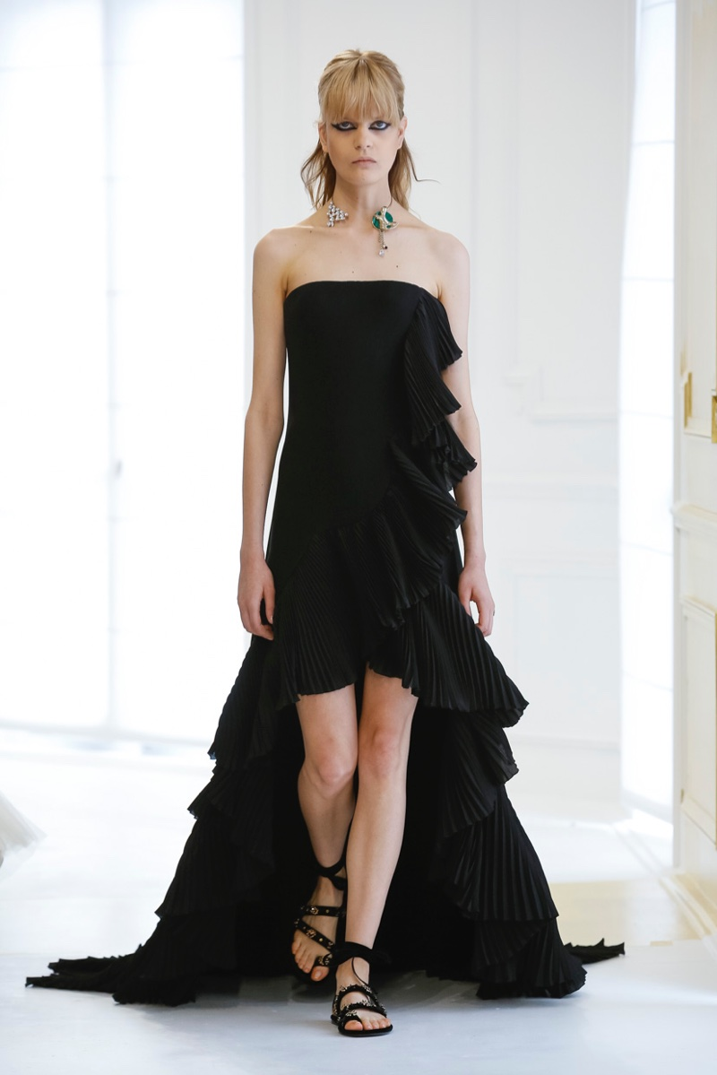 Dior Fall 2016 Haute Couture: Sleeveless black gown with pleating and ruffles