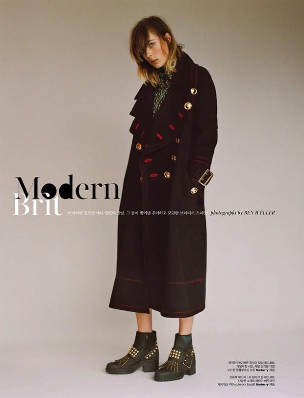 Edie Campbell poses in Burberry for the fashion editorial