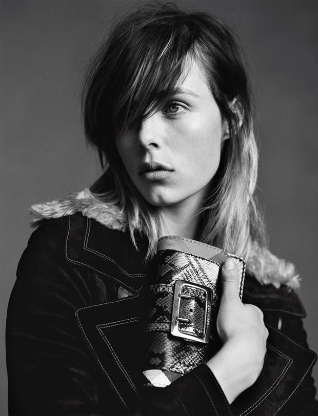 Edie Campbell models the Burberry Patchwork bag