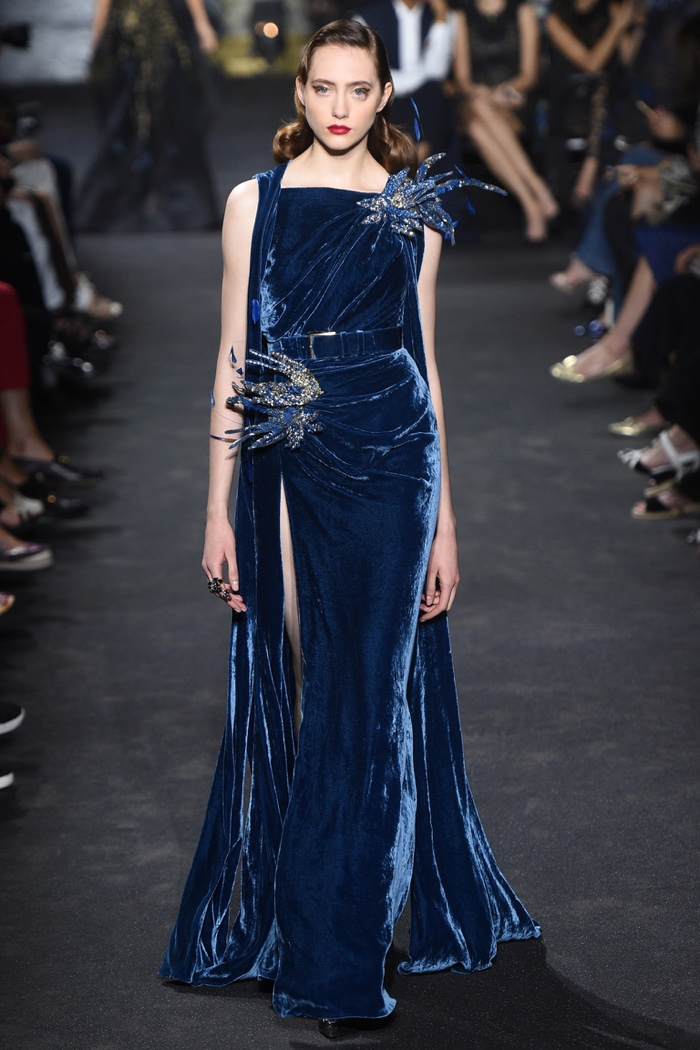 Elie Saab Fall 2016 Haute Couture: Blue velvet gown with embellished feathers and belt
