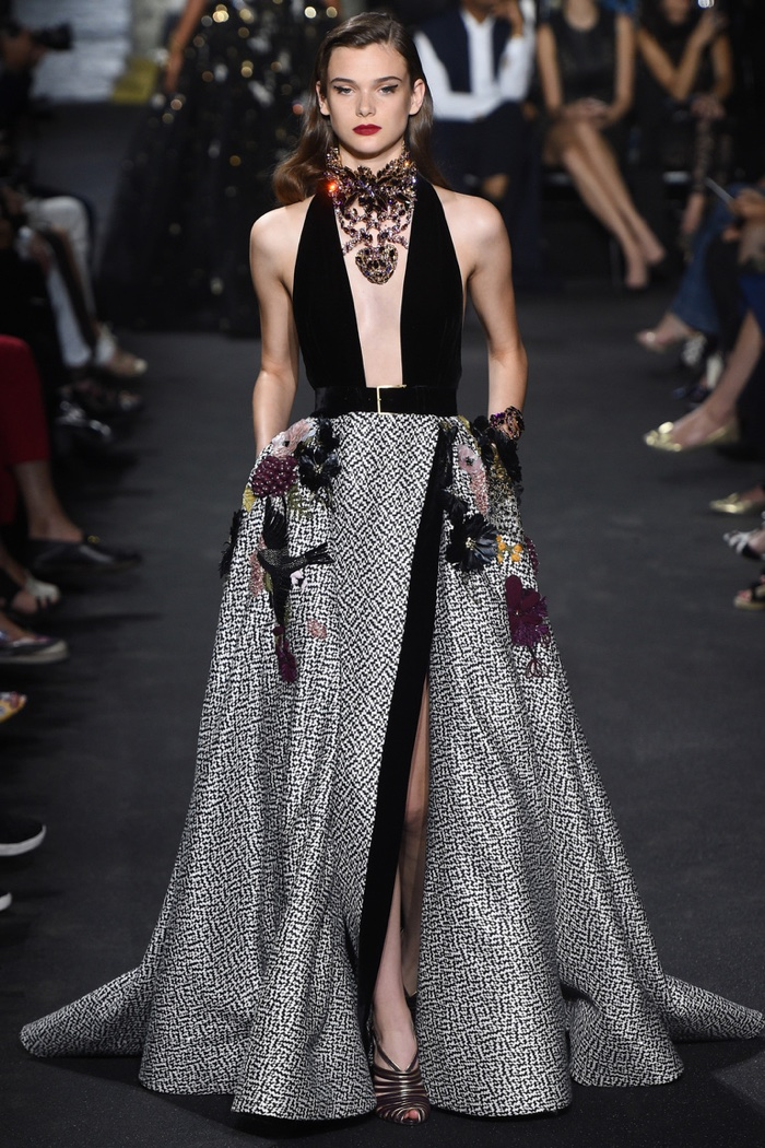Elie Saab Fall 2016 Haute Couture: Gown with plunging neckline and high slit