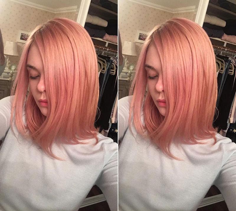 Elle Fanning debuts pink hairstyle on Instagram