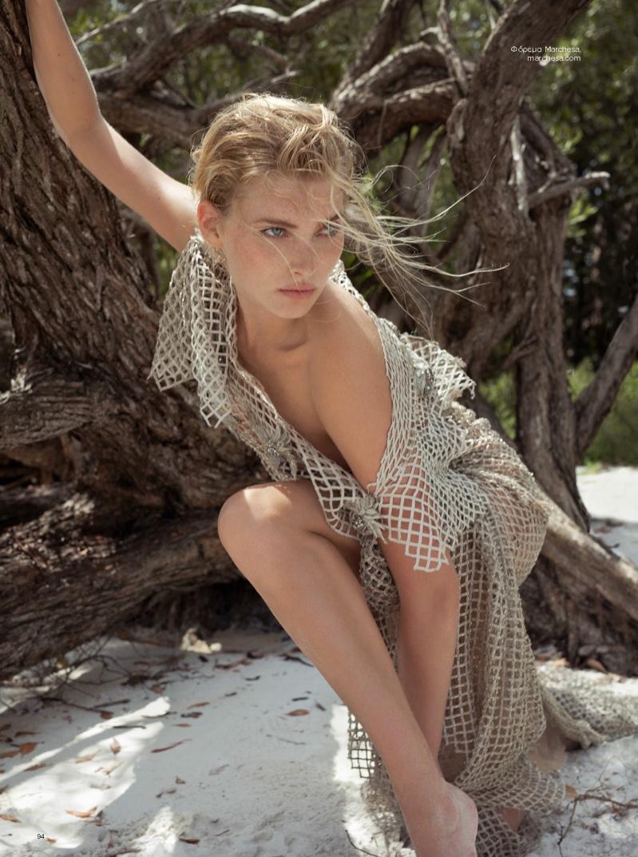 Elsa Hosk poses in macrame dress from Marchesa