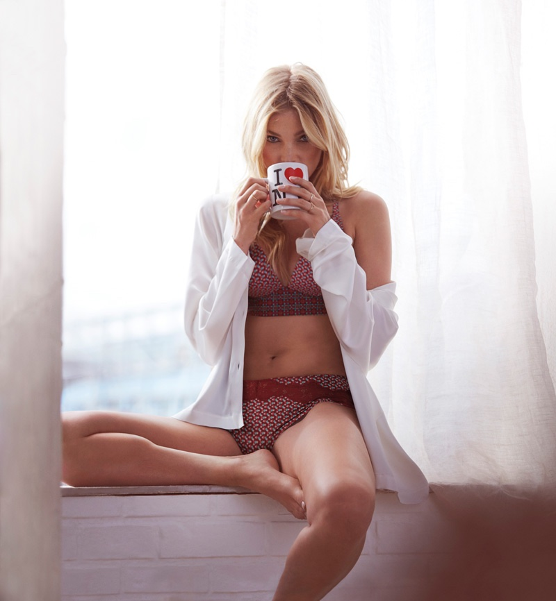 "Elsa Hosk models Body by Victoria ""Easy"" Plunge Bra & Hiphugger"