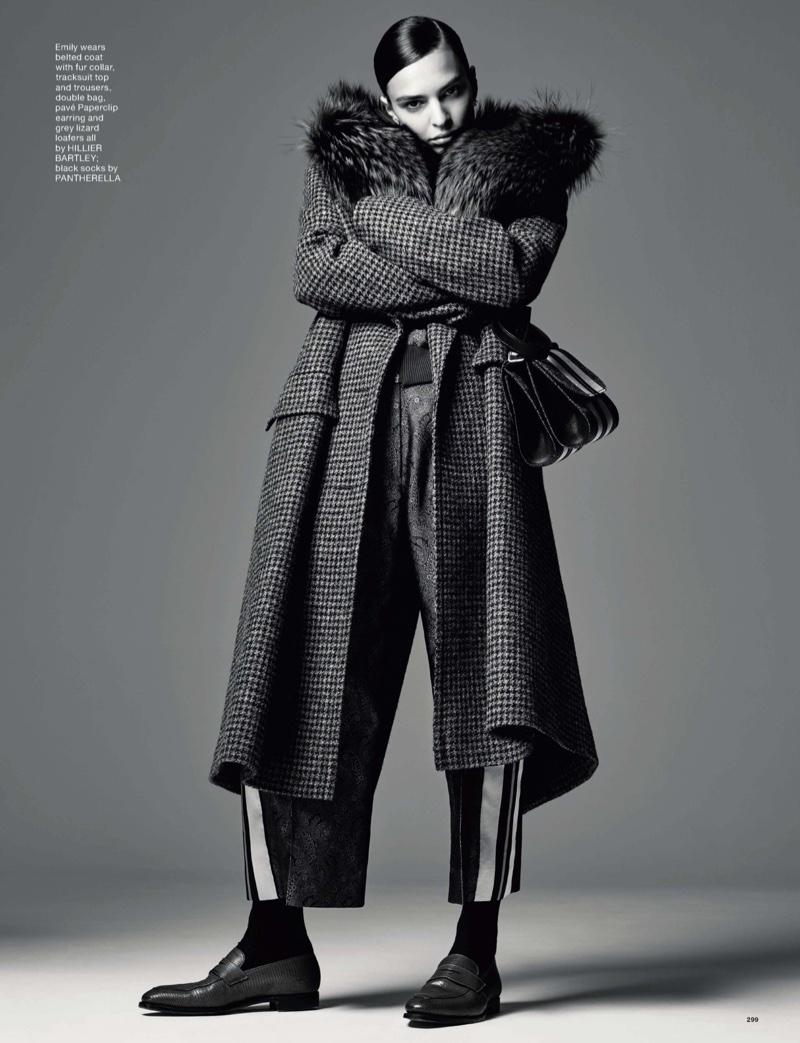 Emily Ratajkowski wears Hillier Bartley coat and pants