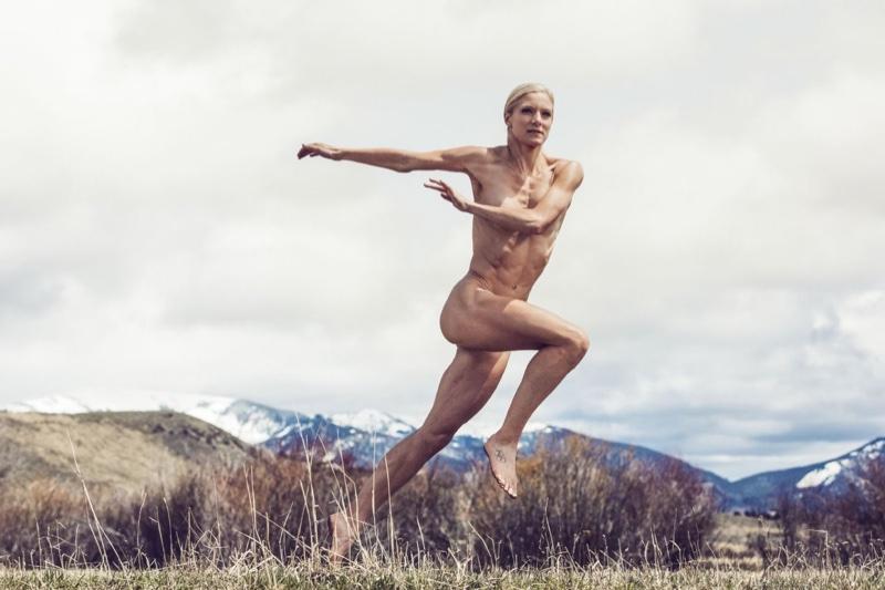 Emma Coburn poses in ESPN's 2016 Body Issue