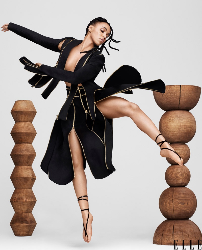 FKA Twigs makes a move in Salvatore Ferragamo coat and skirt