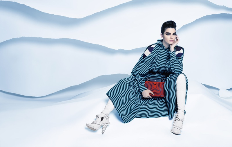Kendall Jenner wears striped maxi dress and clutch bag in Fendi's fall 2016 campaign