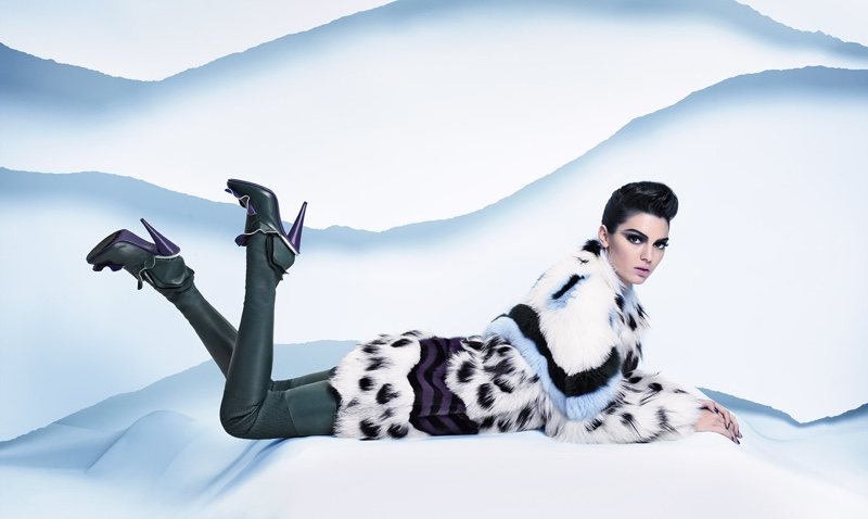 Kendall Jenner wears spotted fur coat in Fendi's fall-winter 2016 campaign