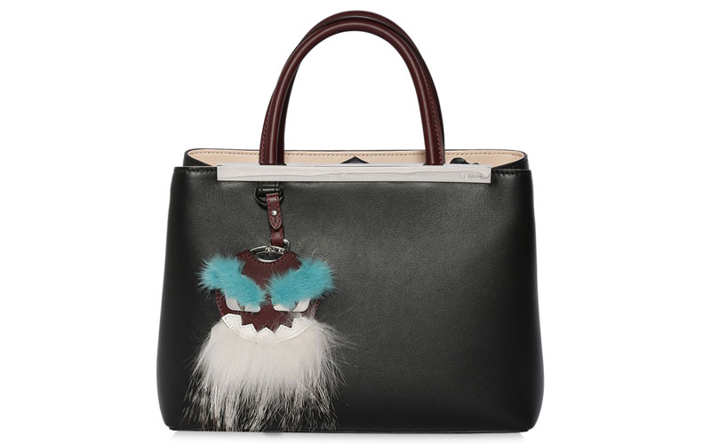 Fendi Mini 2Jour Leather Bag with Fur Charm