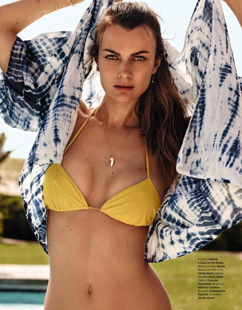 Filippa Hamilton models swimsuit looks in the fashion editorial
