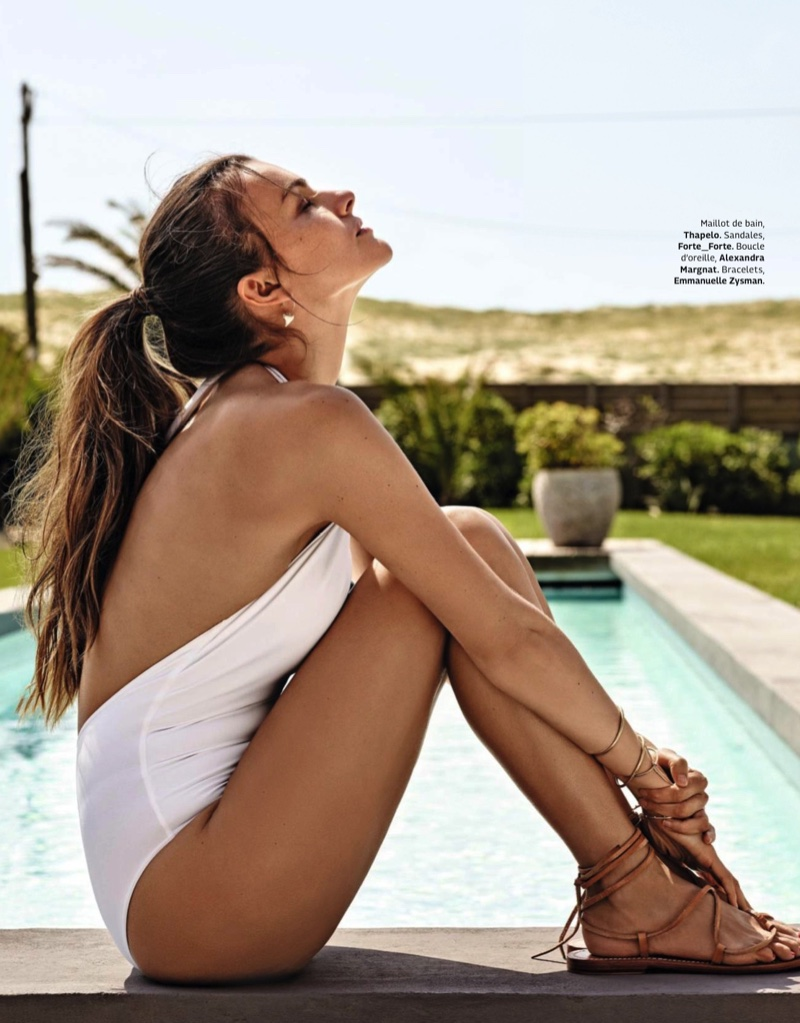 Filippa Hamilton wears Thapelo swimsuit with Forte_Forte sandals