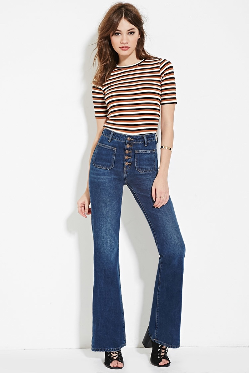 Forever 21 Patch Pocket Flared Jeans