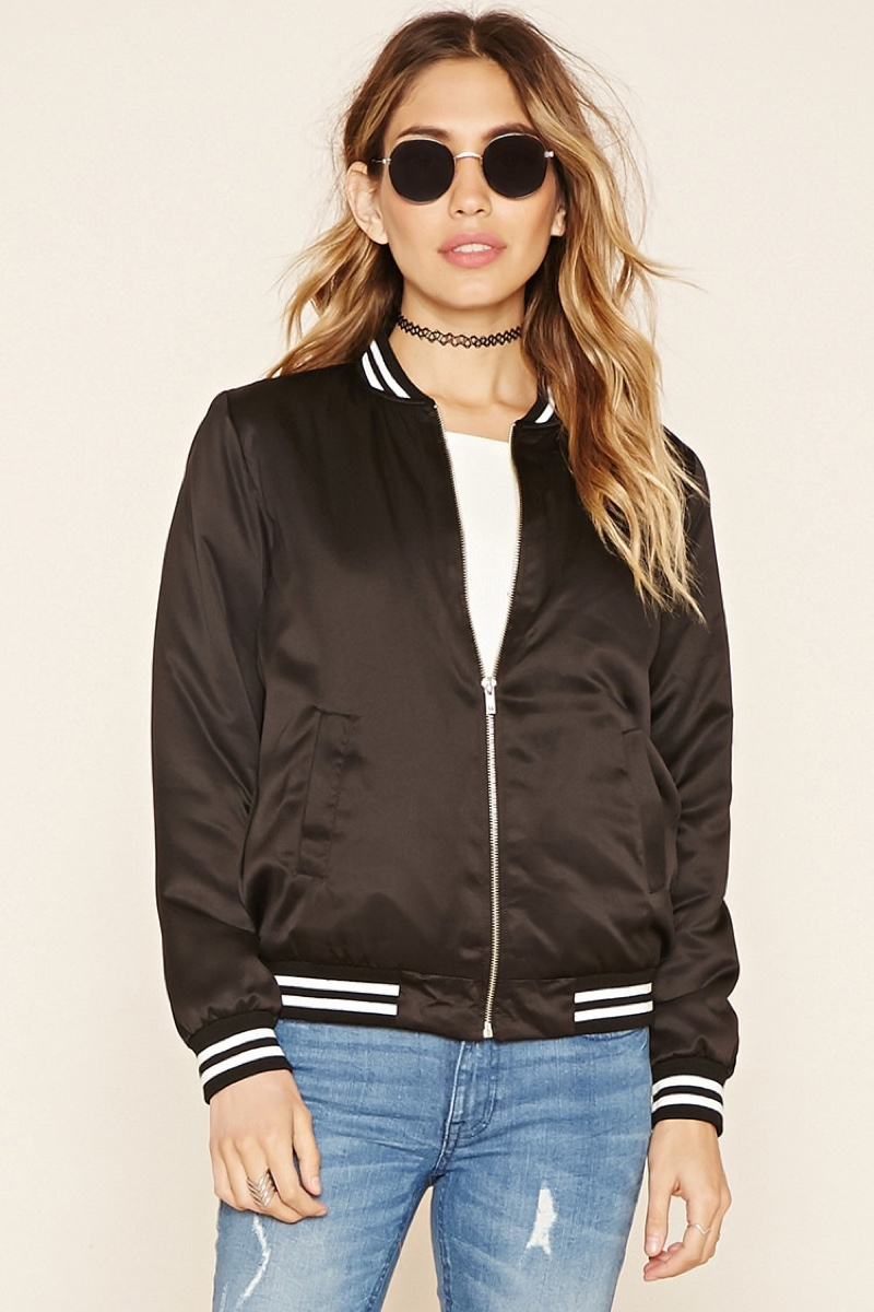 Forever 21 Sheeny Padded Varsity Jacket