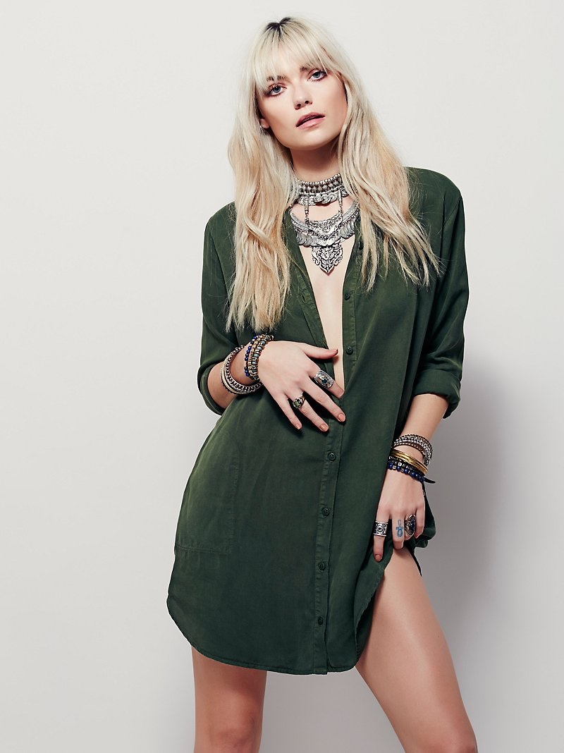 Free People Always on Time Shirtdress in Green