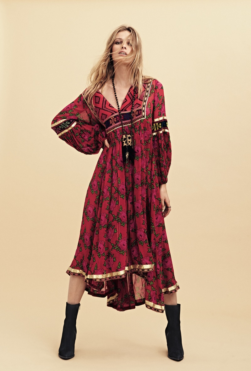 Free People Bold Blooms Embroidered Dress, Leopard Calf Hair Medicine Bag and Mystic Charms Heeled Boot