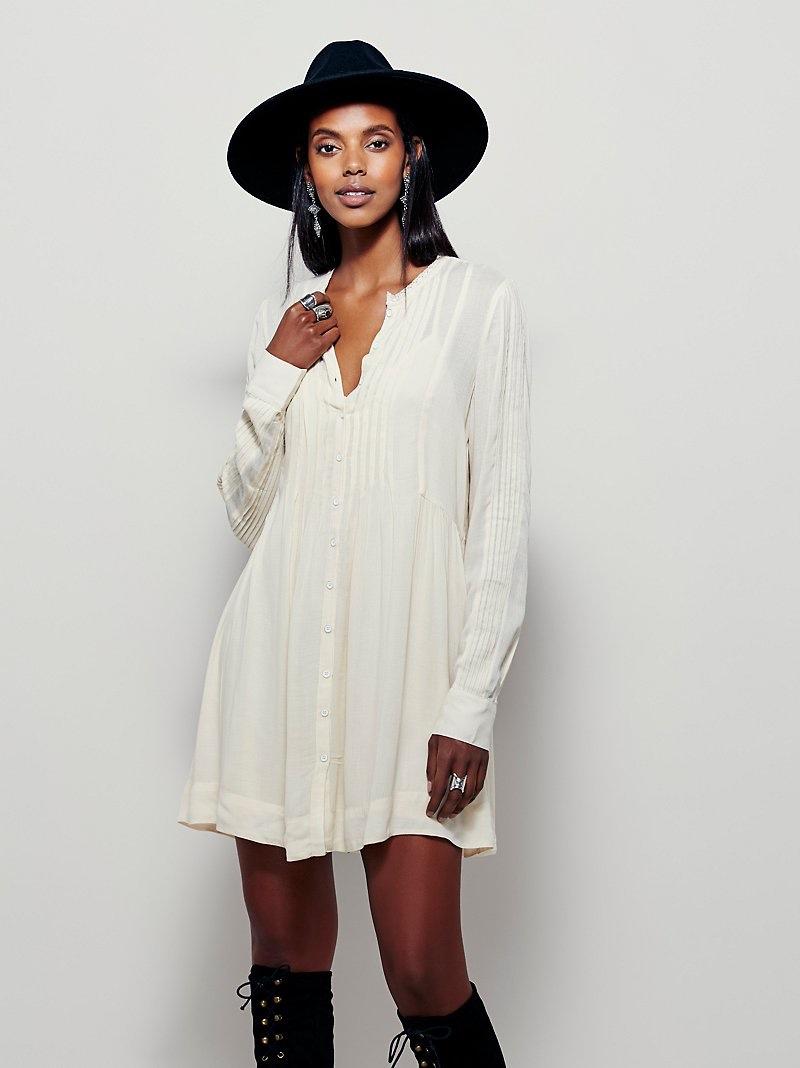 Free People Pintuck Shirtdress in White