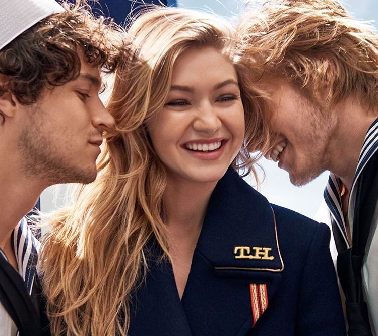 Gigi Hadid behind the scenes at Tommy Hilfiger The Girl fragrance campaign shoot