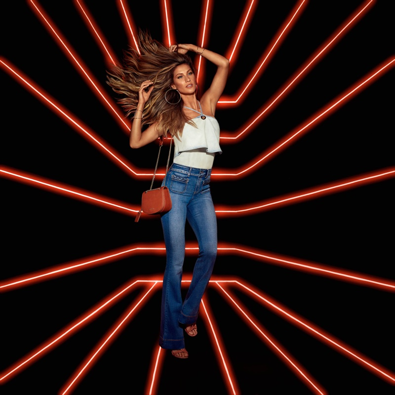 Gisele Bundchen models ruffled top and denim in Colcci's spring campaign