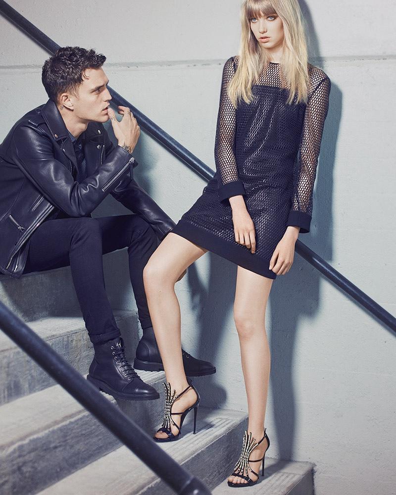 Josh Beech and Grace Hartzel appear in Giuseppe Zanotti's fall-winter 2016 campaign