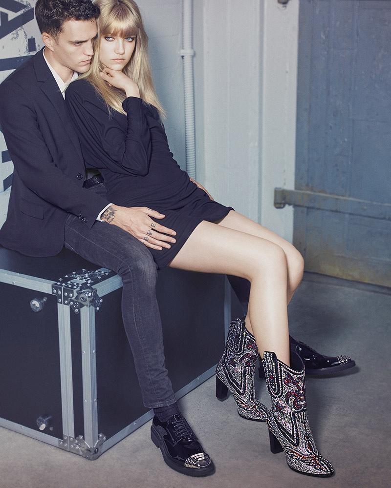 Josh Beech and Grace Hartzel cozy up in Giuseppe Zanotti's fall-winter 2016 campaign